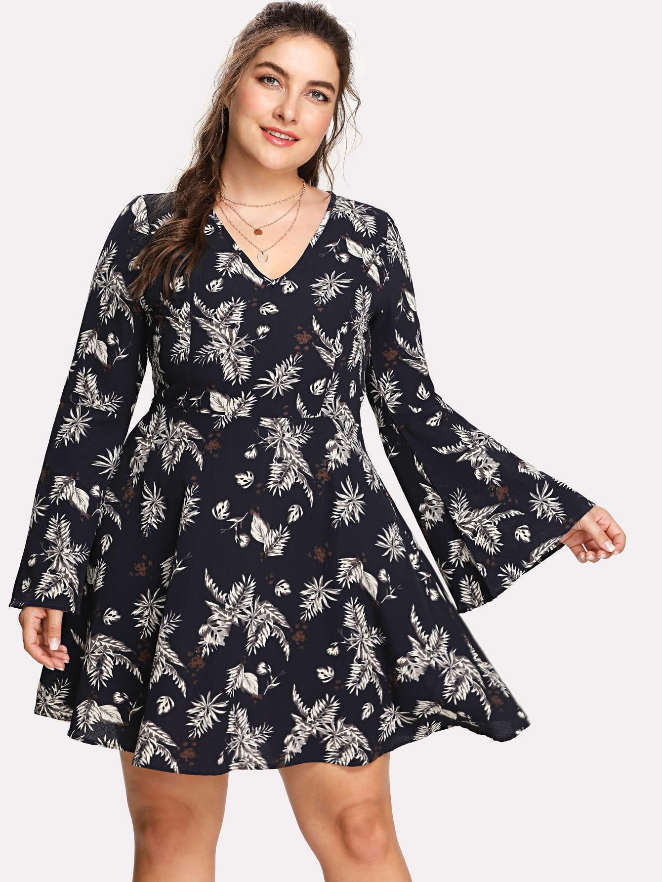 Trumpet Sleeve Tropical Leaf Print Dress bishop sleeve tropical print dress