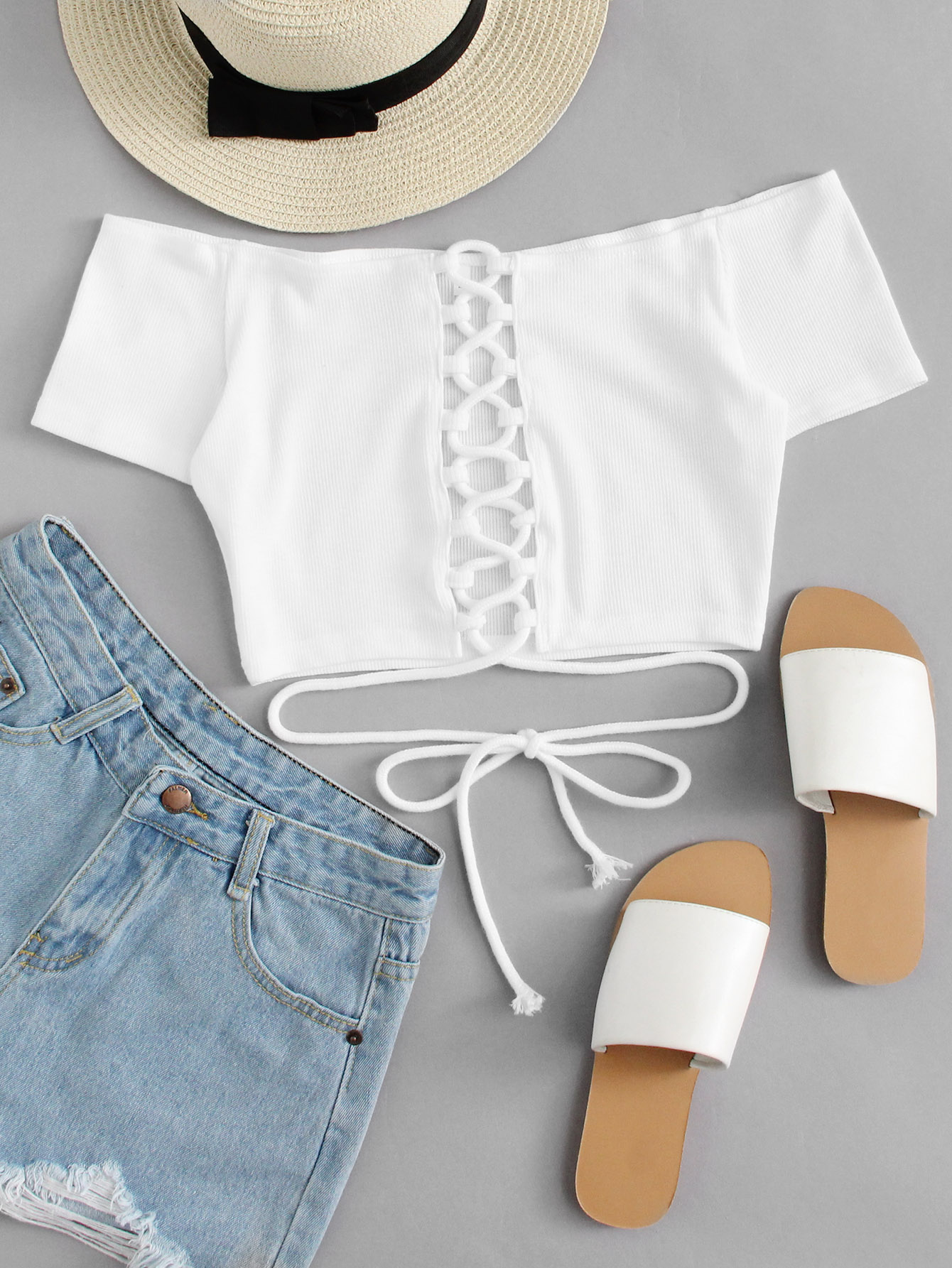Off Shoulder Lace Up Crop Top blue off the shoulder lace up front denim crop top