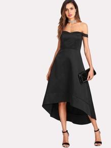 Off Shoulder Dip Hem Dress