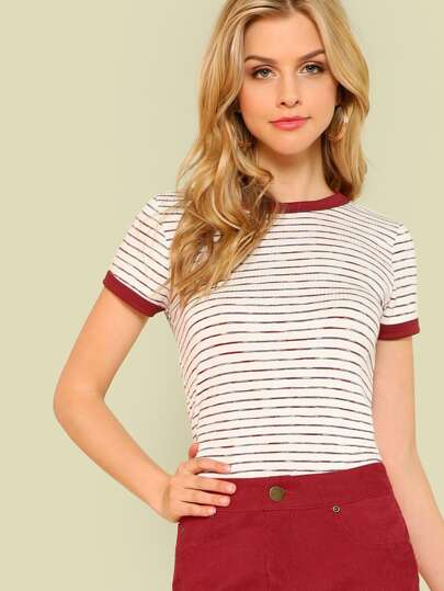 Striped Ribbed Knit Tee RED WHITE