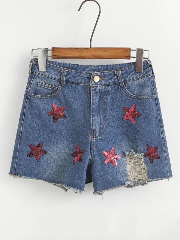 Sequin Ripped Raw Hem Denim Shorts chic pocket design ripped hem denim shorts for women