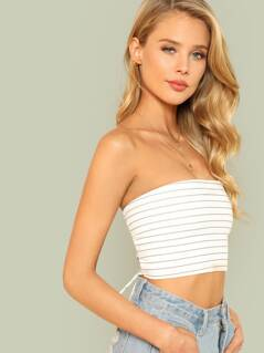 Stripe Tube Top with Lace Up Back