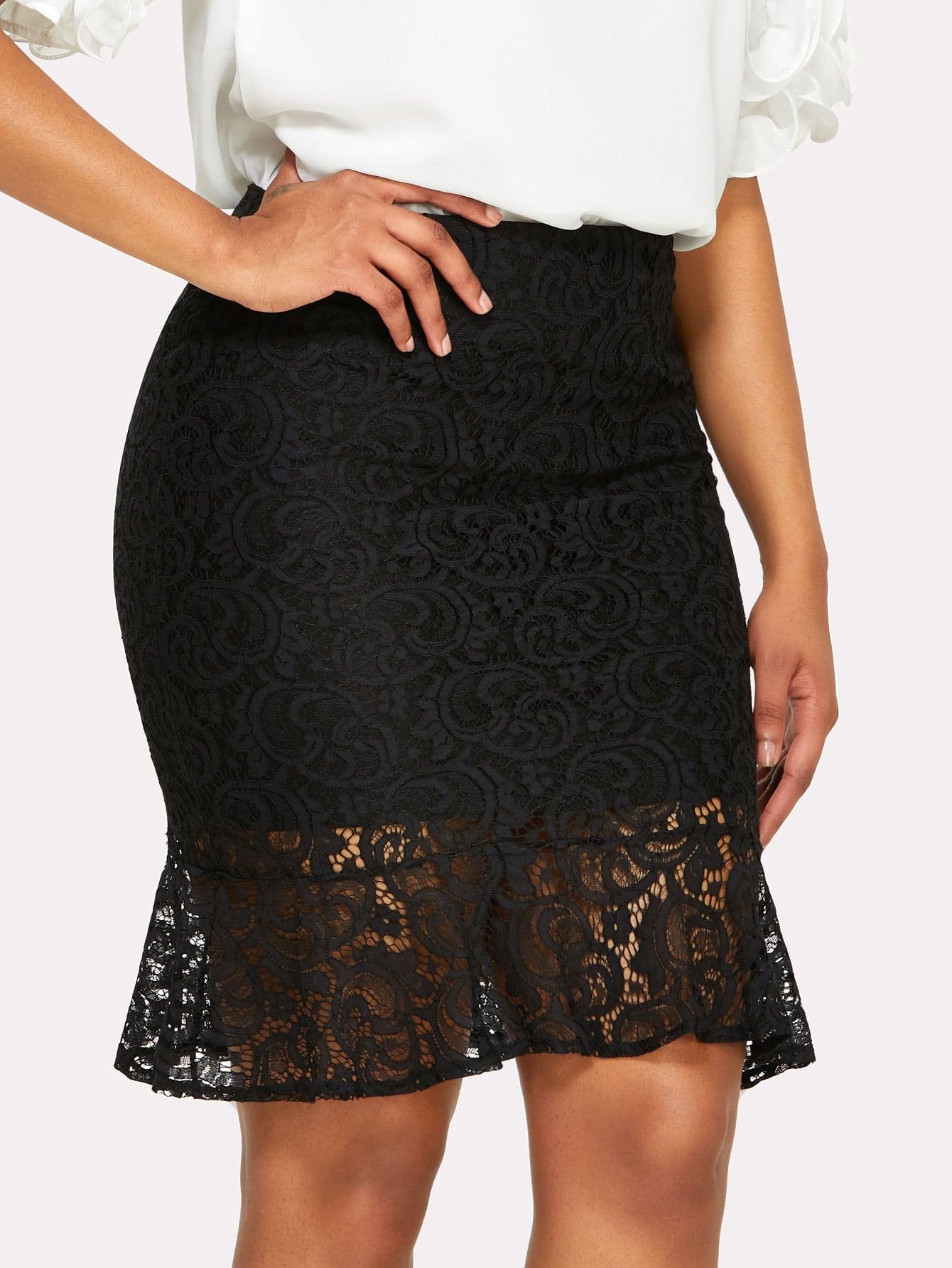 Split Back Fishtail Lace Skirt split back plaid skirt