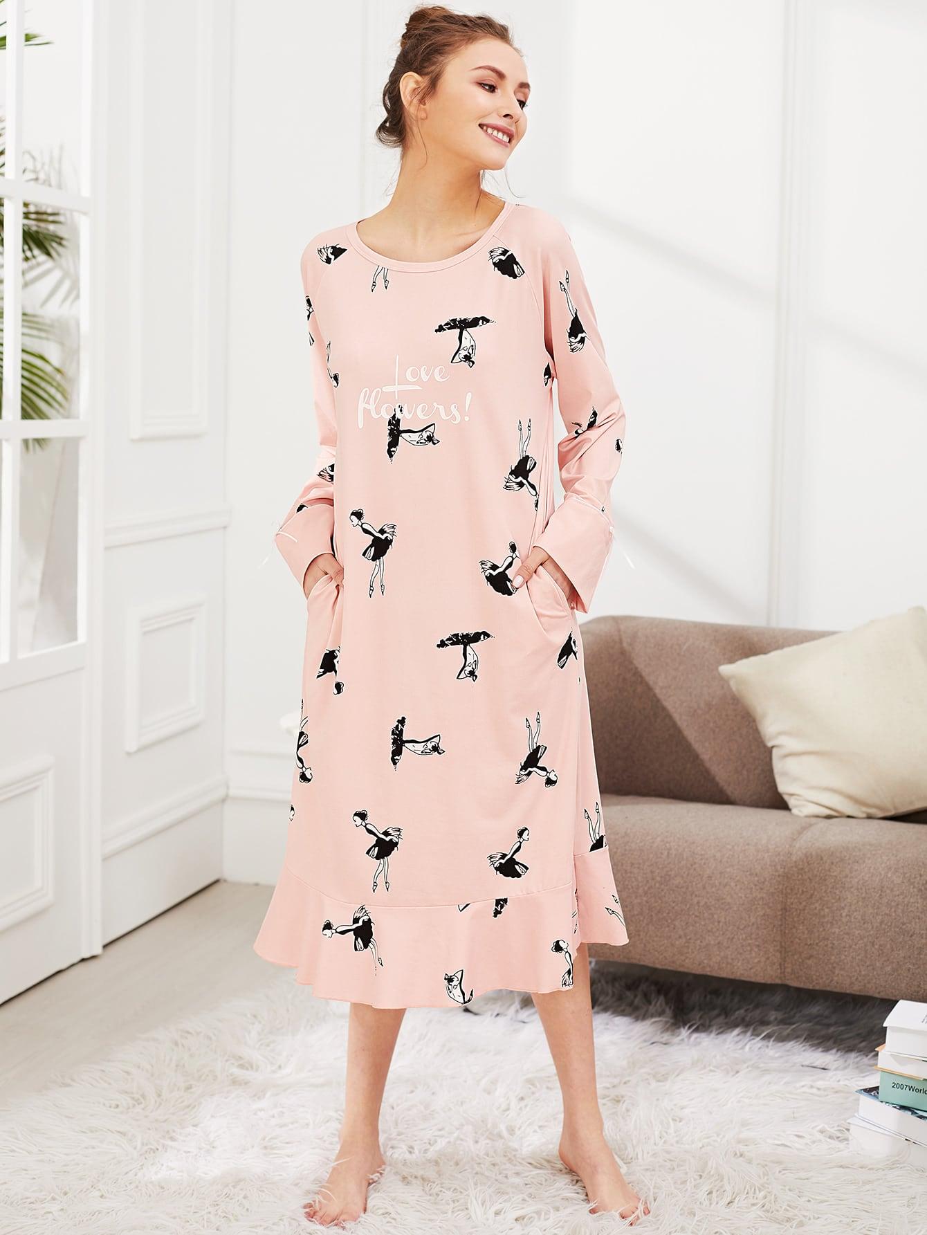 Girl Print Ruffle Hem Dress night180302316
