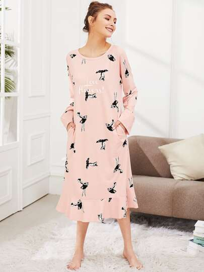 Girl Print Ruffle Hem Dress