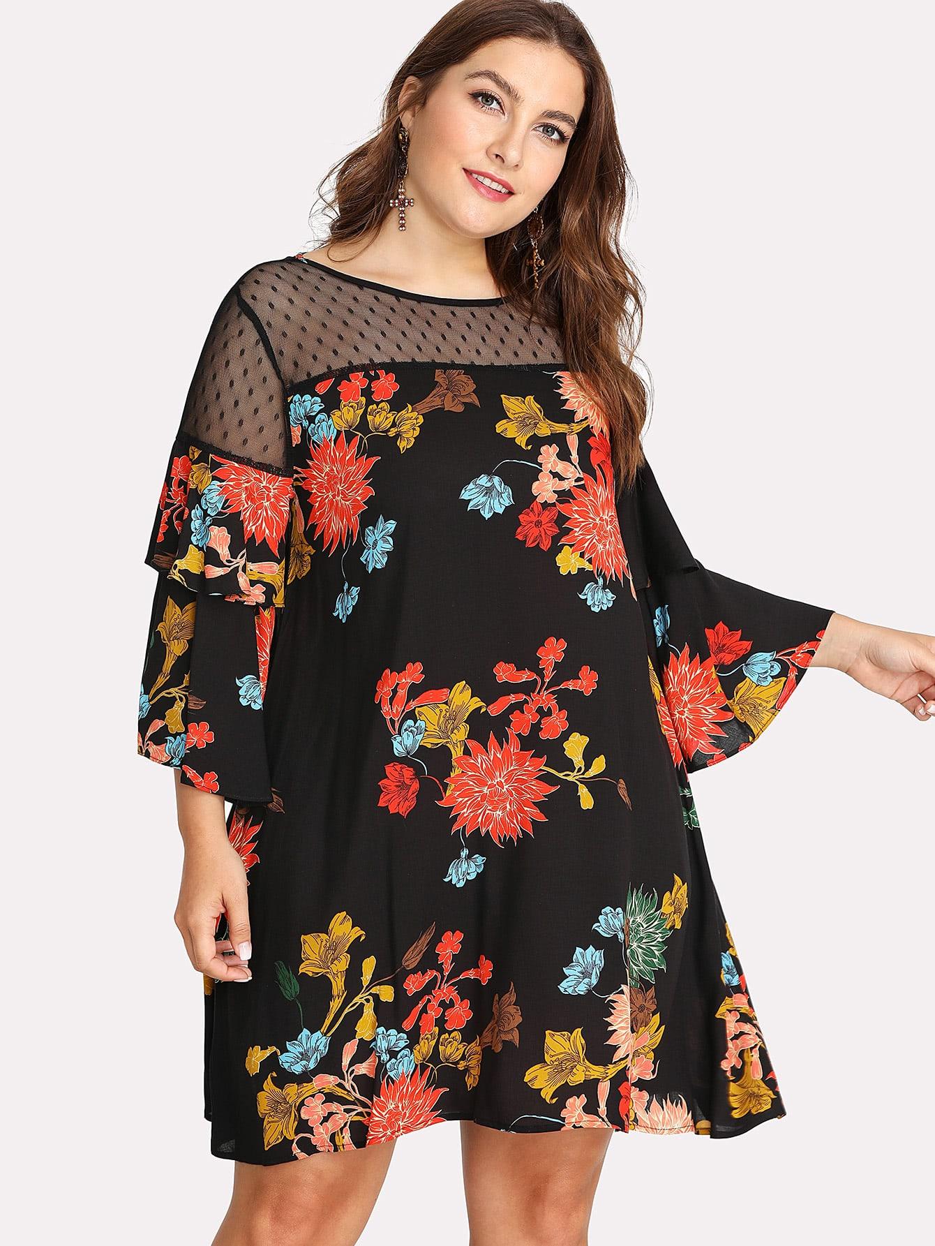 Dot Mesh Shoulder Ruffle Sleeve Floral Dress ruffle mesh panel dress