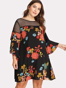 Dot Mesh Shoulder Ruffle Sleeve Floral Dress