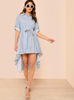 Striped High Low Collared Shirt Dress with Tie Waist BLUE