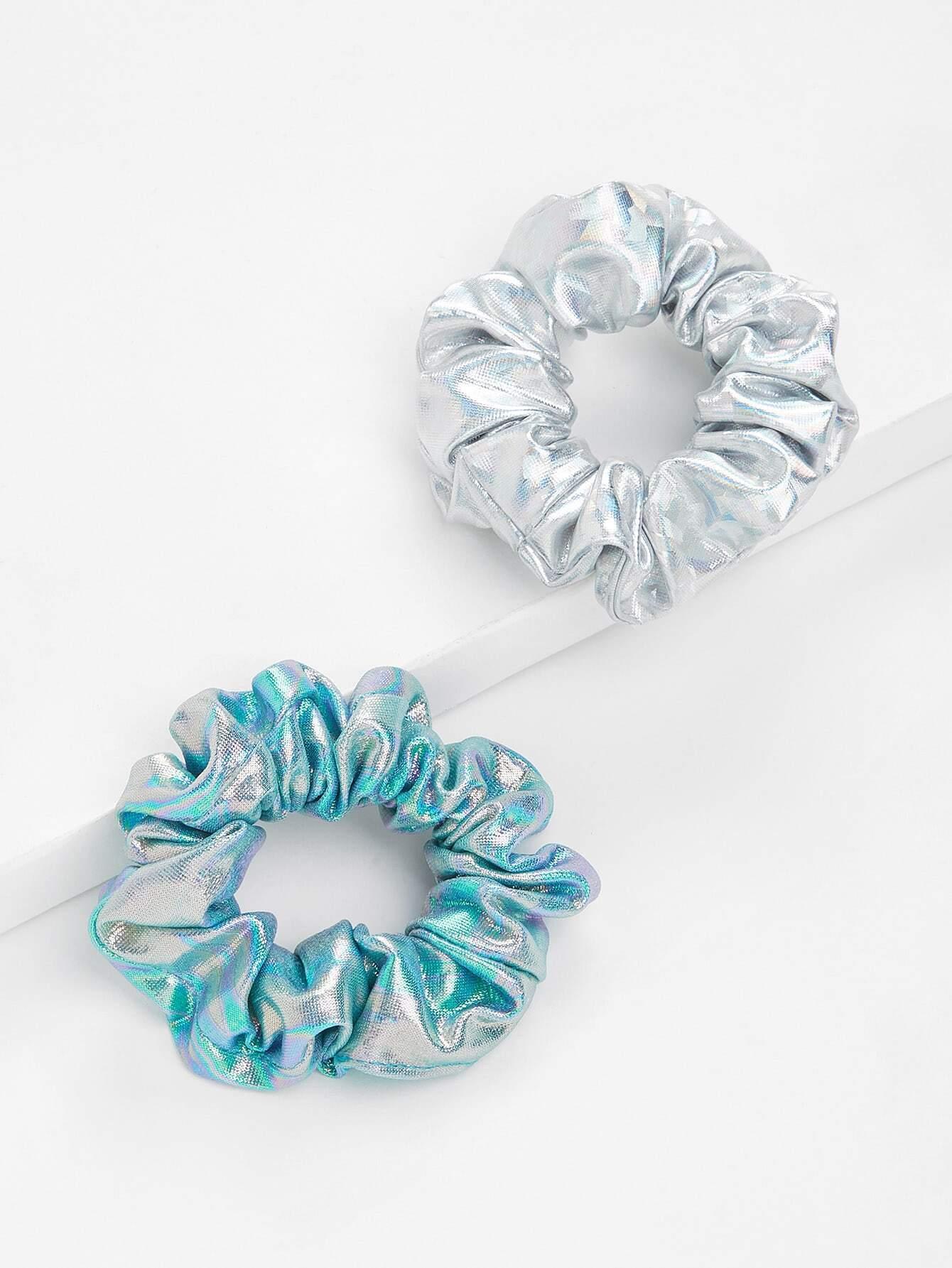 Iridescent Hair Tie 2Pcs metallic hair tie 2pcs