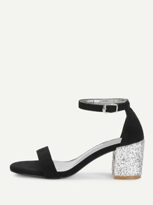 Glitter Heeled Two Part Sandals