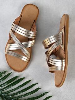 Criss Cross Strappy Band Slide Sandal GOLD