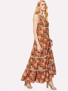 Knot Front Lace Insert Patchwork Print Dress