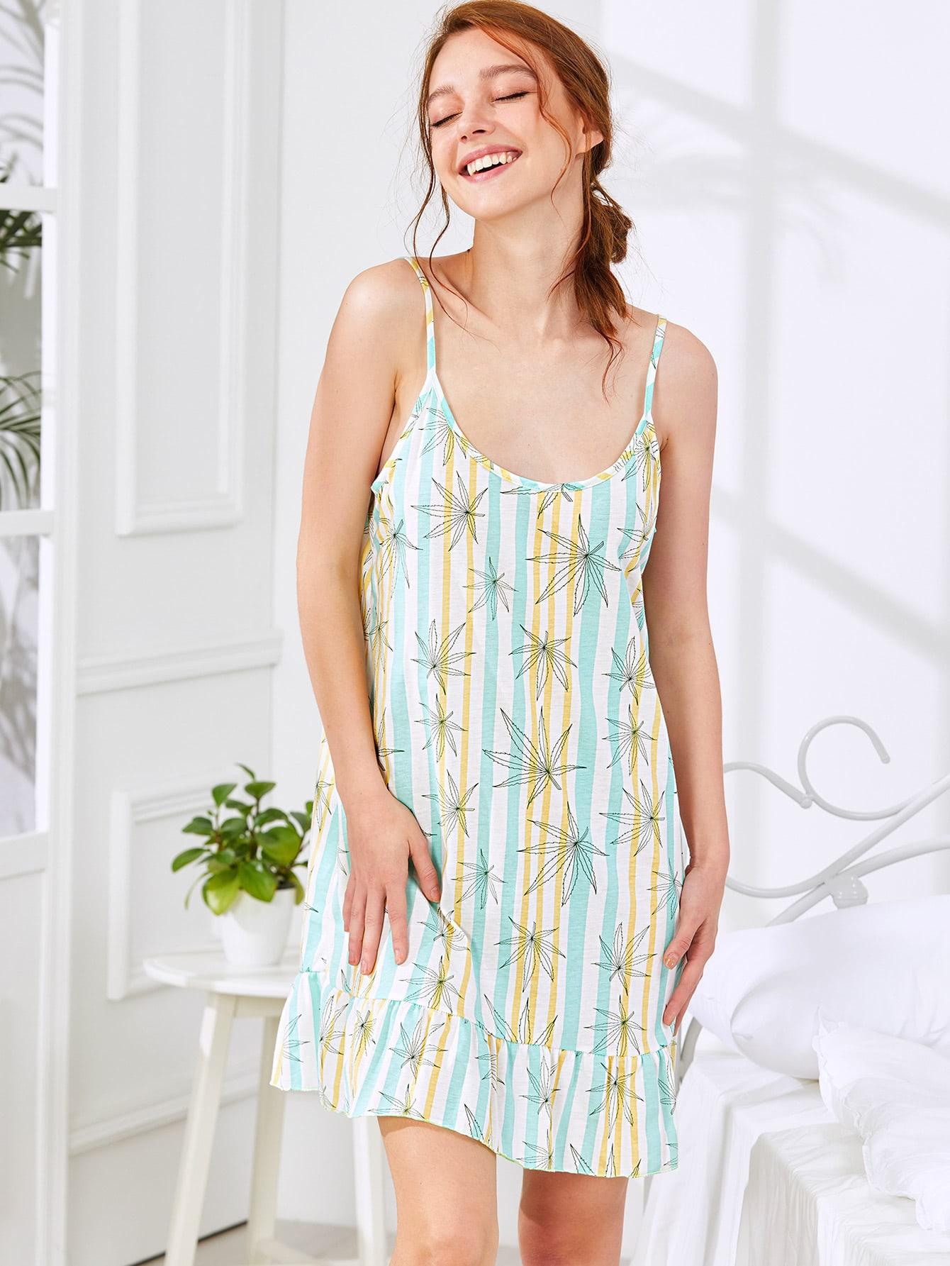 Ruffle Hem Striped Cami Dress босоножки janessa janessa ja026awtub15
