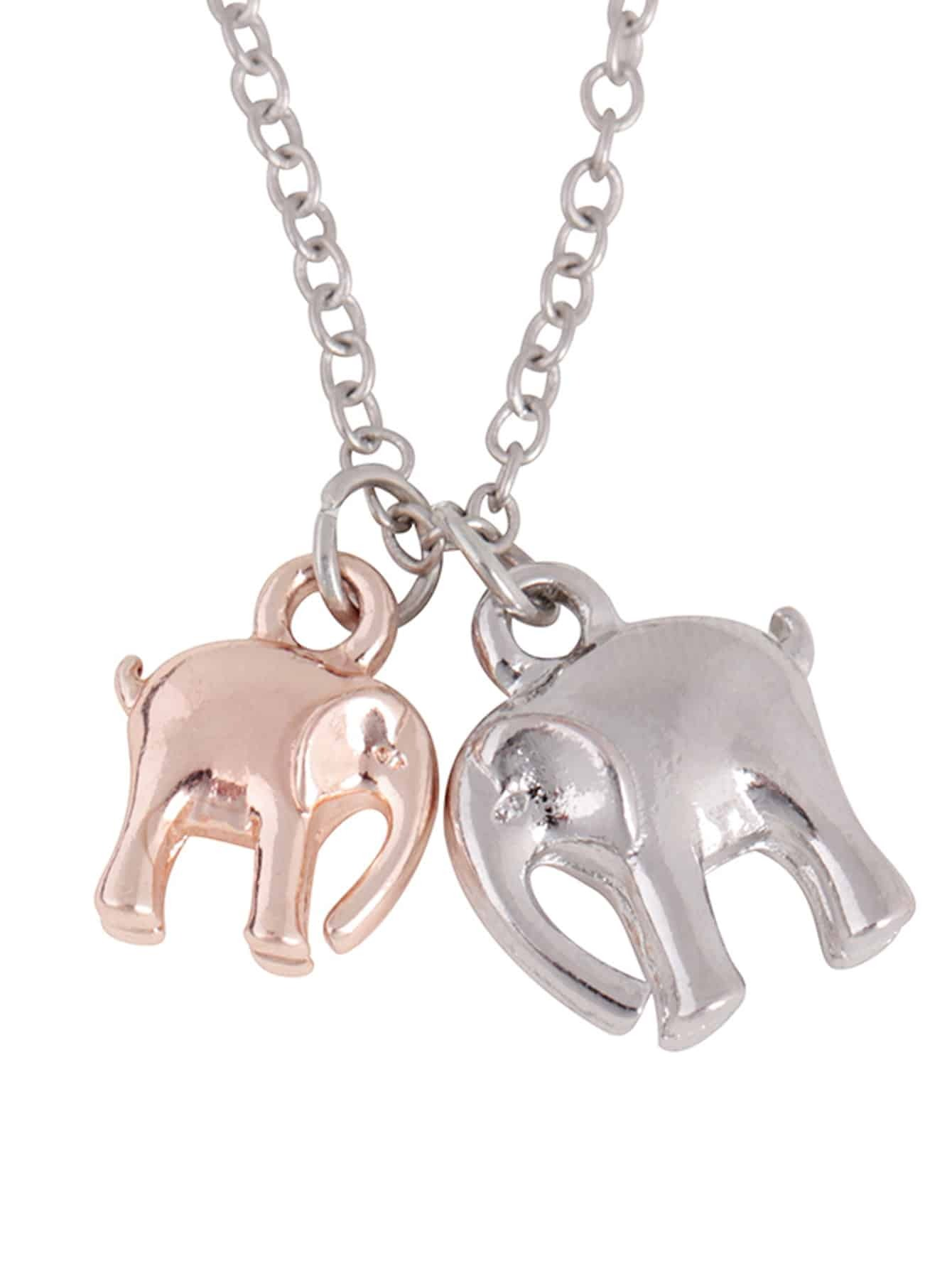 Double Elephant Pendant Chain Necklace double ring letter link chain pendant necklace