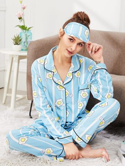 Contrast Binding Egg Print Pajama Set With Eye Mask