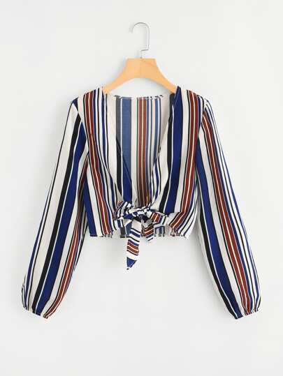 Deep V Neckline Knot Front Striped Top