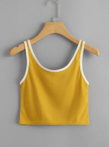 Contrast Trim Ribbed Crop Top ROMWE
