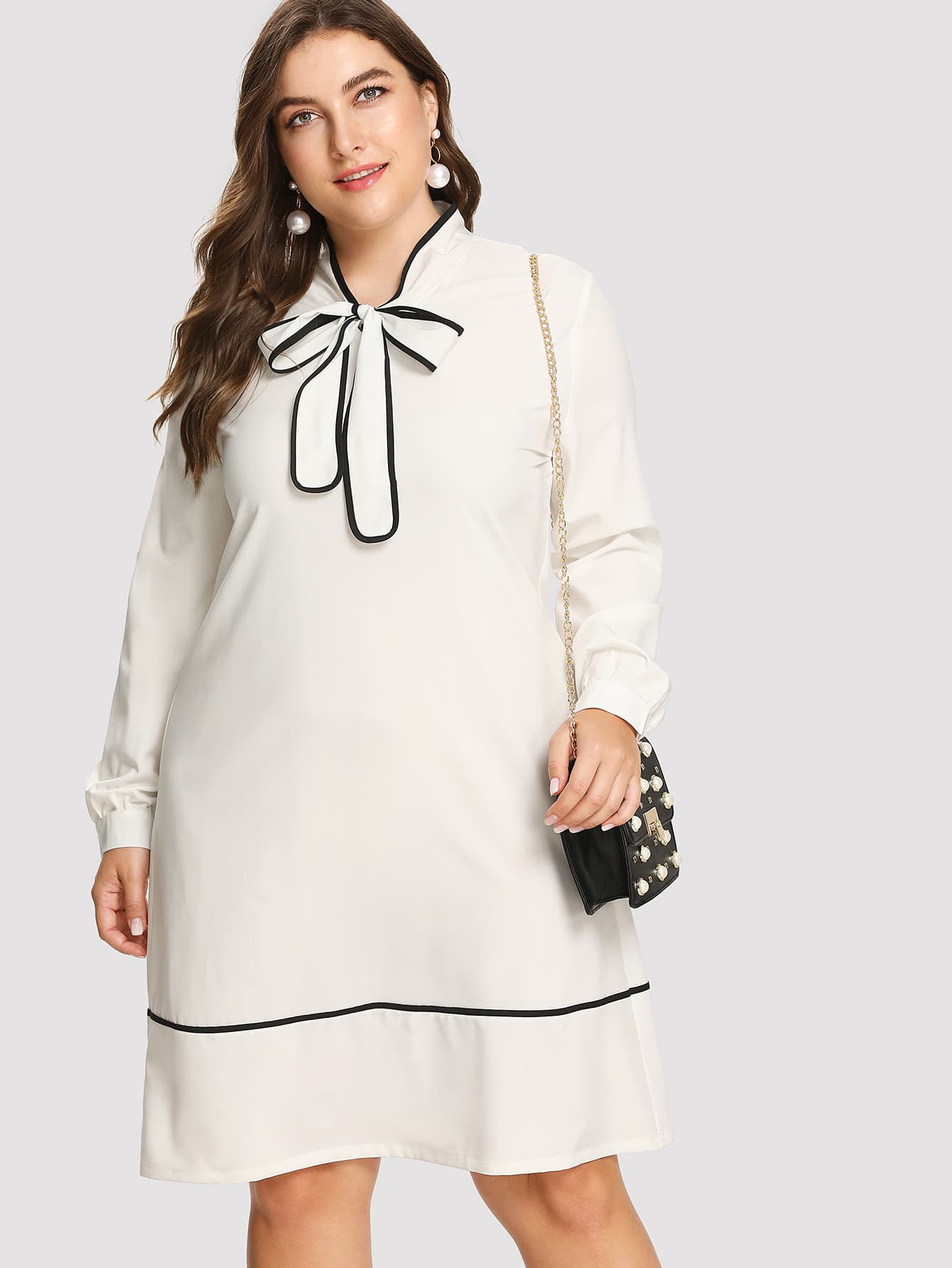 Contrast Binding Tie Neck Tunic Dress contrast tie neck faux pocket tweed dress