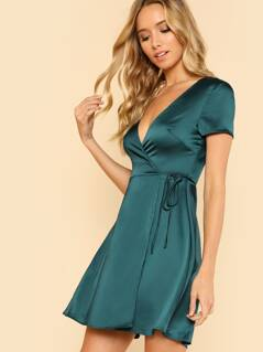 Fit & Flare Surplice Dress