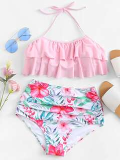 Flounce Halter Top With Flower Print High Waist Bikini