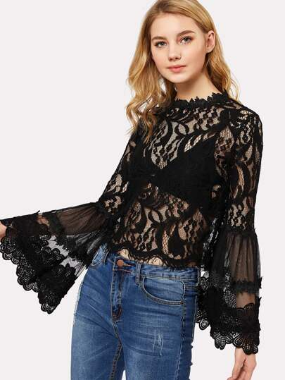 Ruffle Sleeve Guipure Lace Top