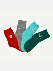 Figure Pattern Ankle Socks 4pairs
