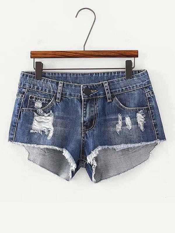 Ripped Raw Hem Denim Shorts chic pocket design ripped hem denim shorts for women