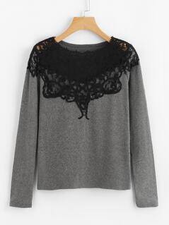 Contrast Lace Applique T-shirt