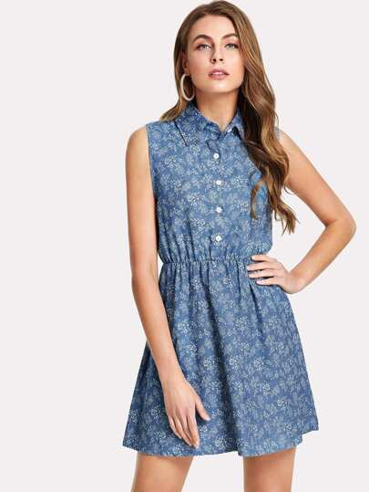 Flower Print Button Front Denim Shirt Dress