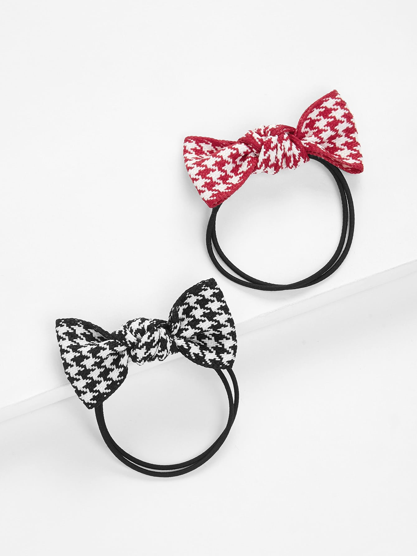 Houndstooth Knot Hair Tie 2pcs