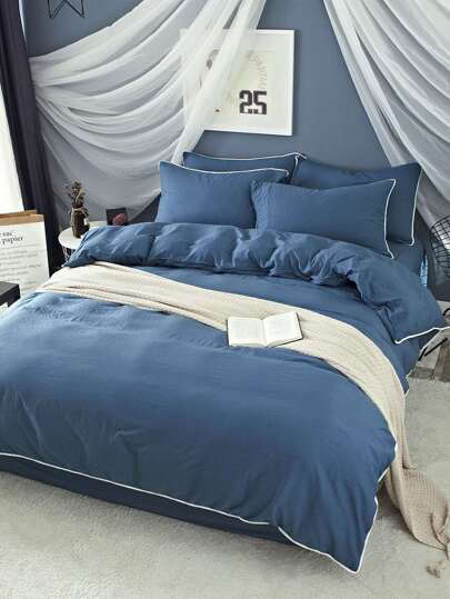 2.0m 4pcs Kontrast Trim Duvet Bettbezug Set