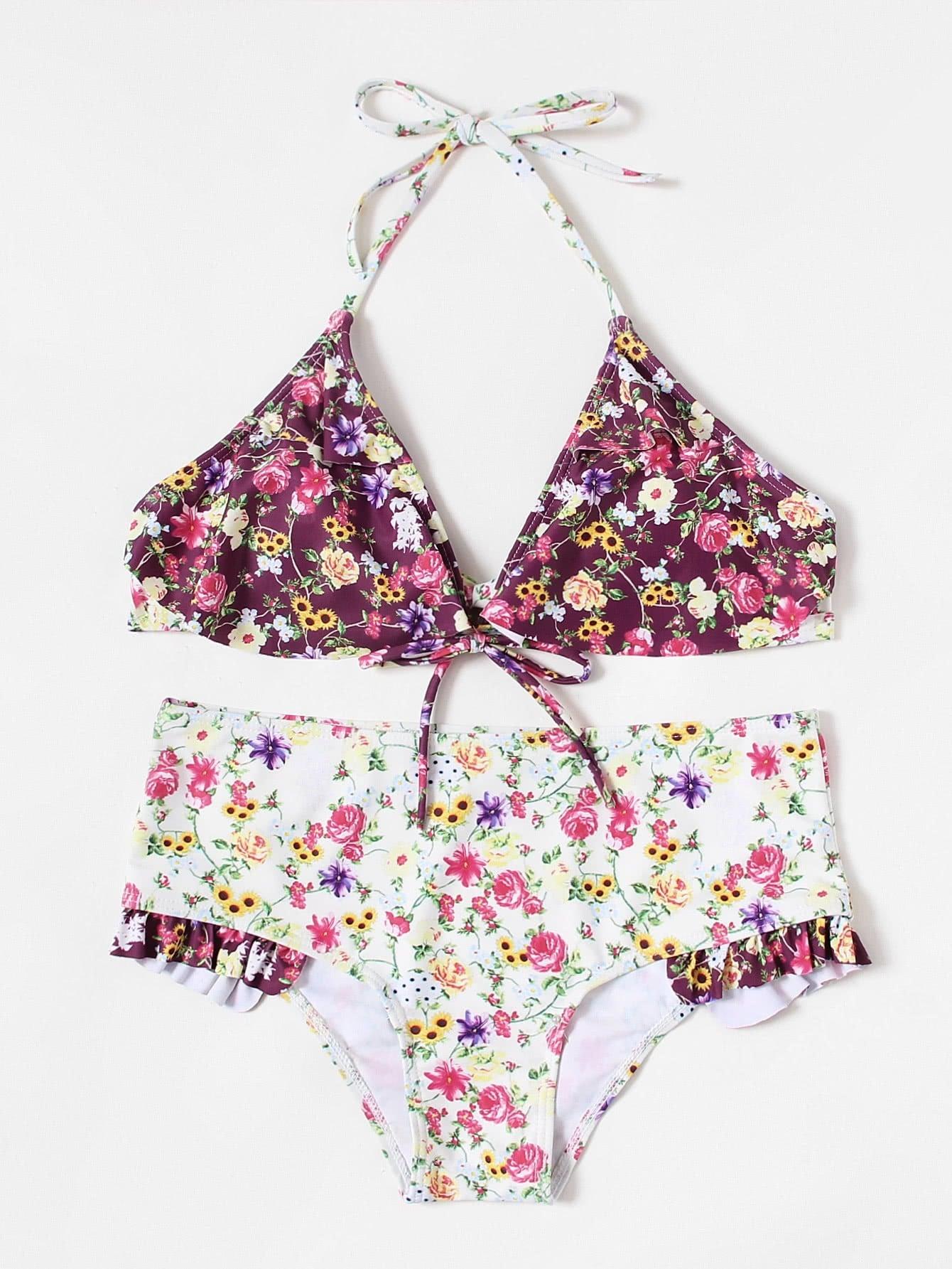 Calico Print Frill Detail Bikini Set цена 2017
