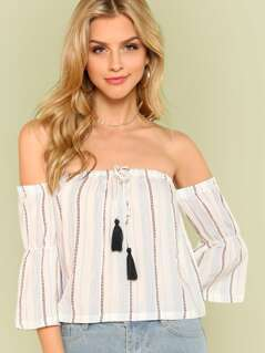 Off Shoulder Stripe Print Crop Top with Circular Flounce Sleeve and Tassel Tie Detail WHITE
