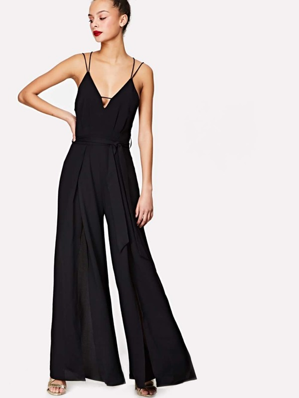 Self Belted High Split Cami Jumpsuit by Shein