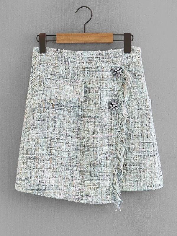 Fringe Trim Overlap Tweed Skirt frayed trim open front tweed blazer