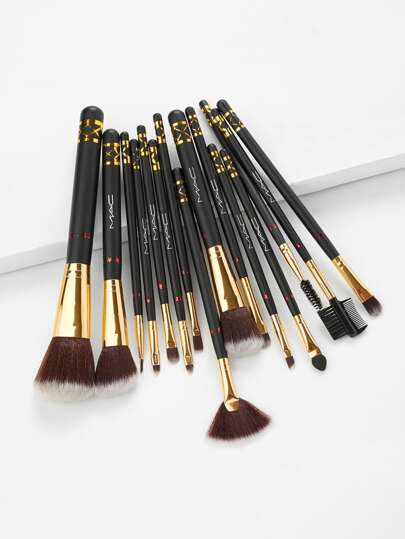 Star Pattern Detail Cosmetic Makeup Brush 15Pcs