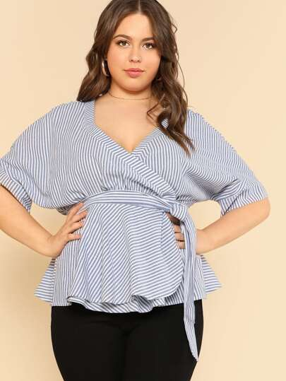 Self Belted Pinstripe Wrap Top
