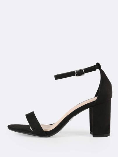 Faux Suede Single Band Ankle Cuff Chunky Heel BLACK