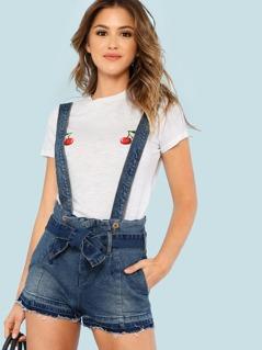 Denim High Waist Raw Hem Suspender Shorts with Tie Waist BLUE
