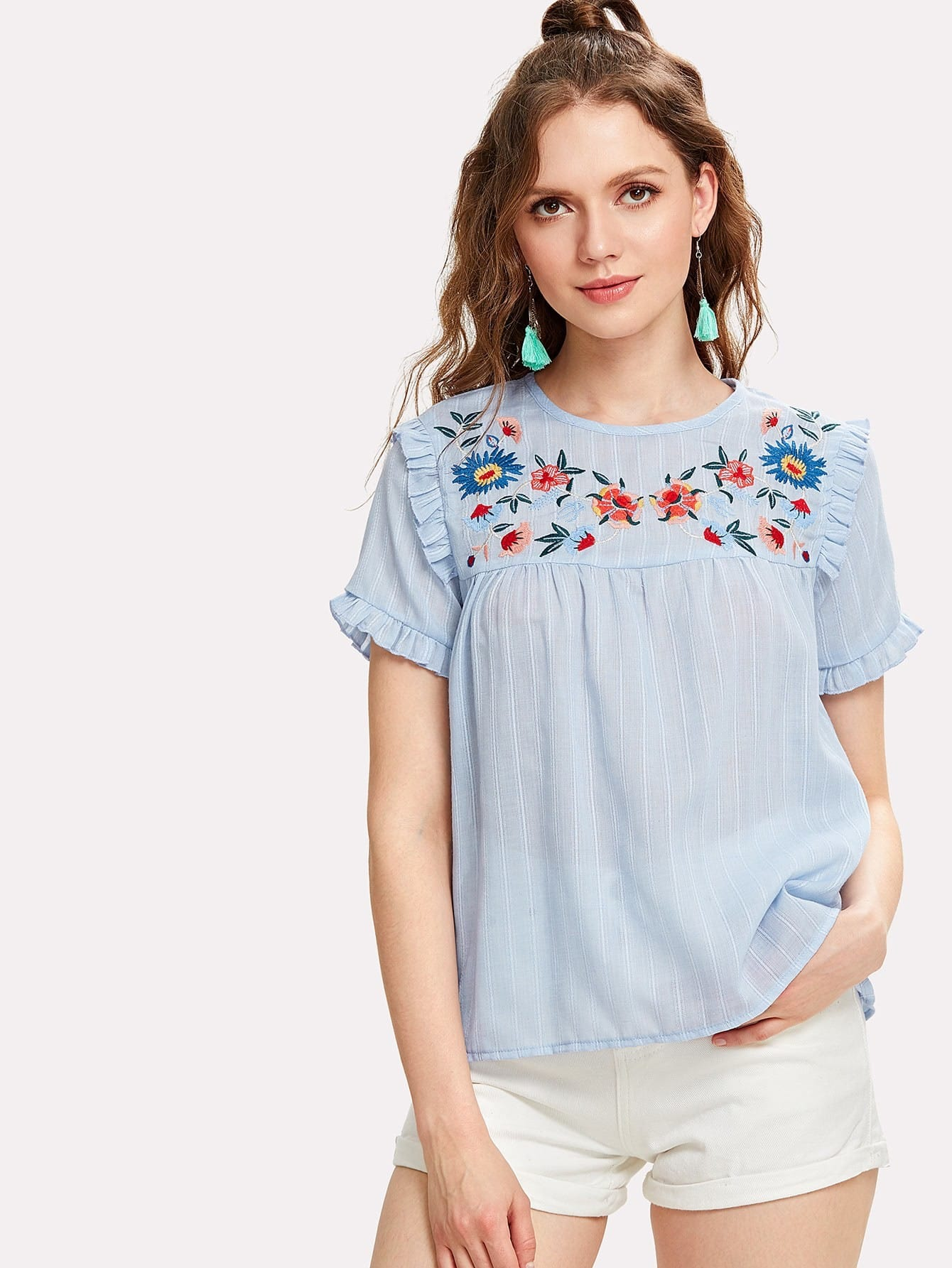 Embroidered Yoke Frilled Pinstripe Top frilled collar lace yoke sleeveless top