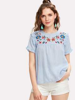 Embroidered Yoke Frilled Pinstripe Top