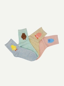 Space Dye Cartoon Socks 4pairs
