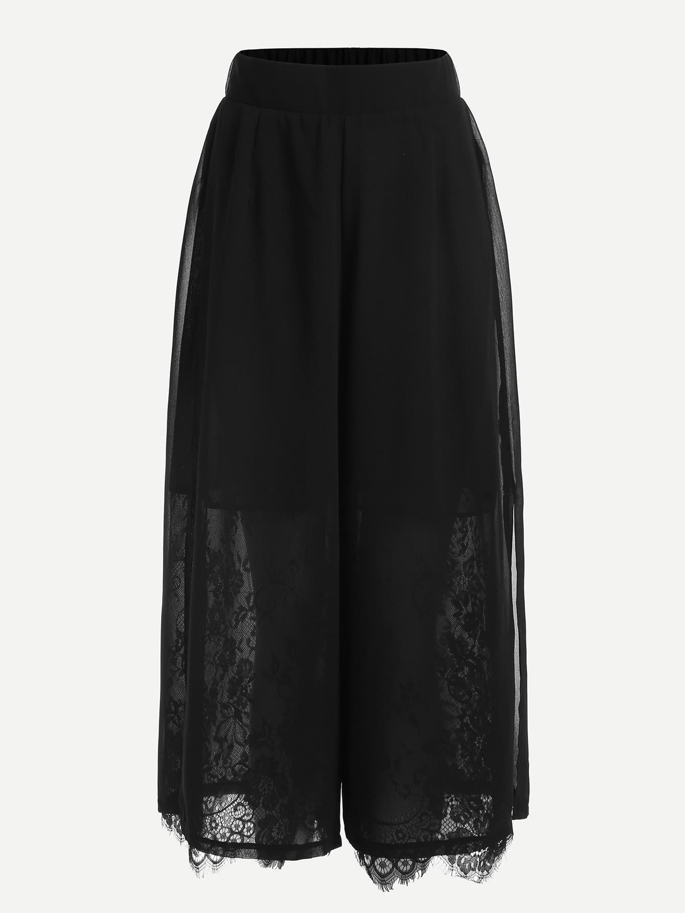 Eyelash Lace Trim Wide Leg Pants