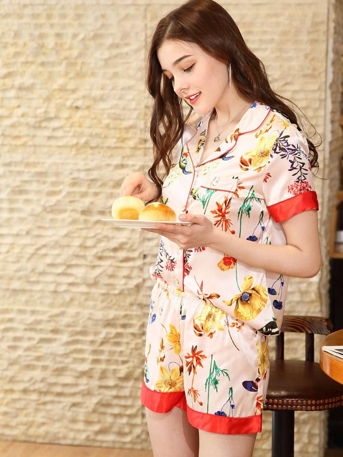 Floral Print Shirt & Shorts PJ Set браслеты police pj 26055blb 01 l