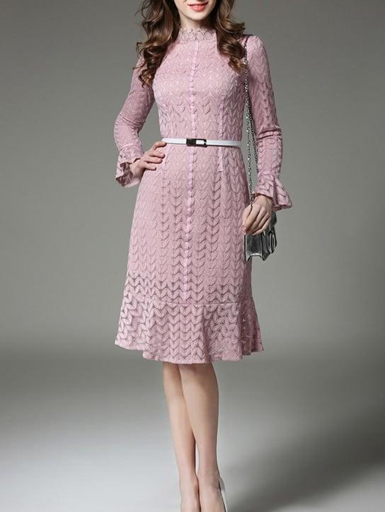 Ruffle Hem Mock Neck Lace Dress one shoulder ruffle trim mock neck midi dress