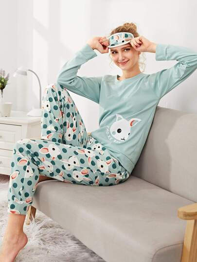 Rabbit Print Top & Pants With Eye Mask