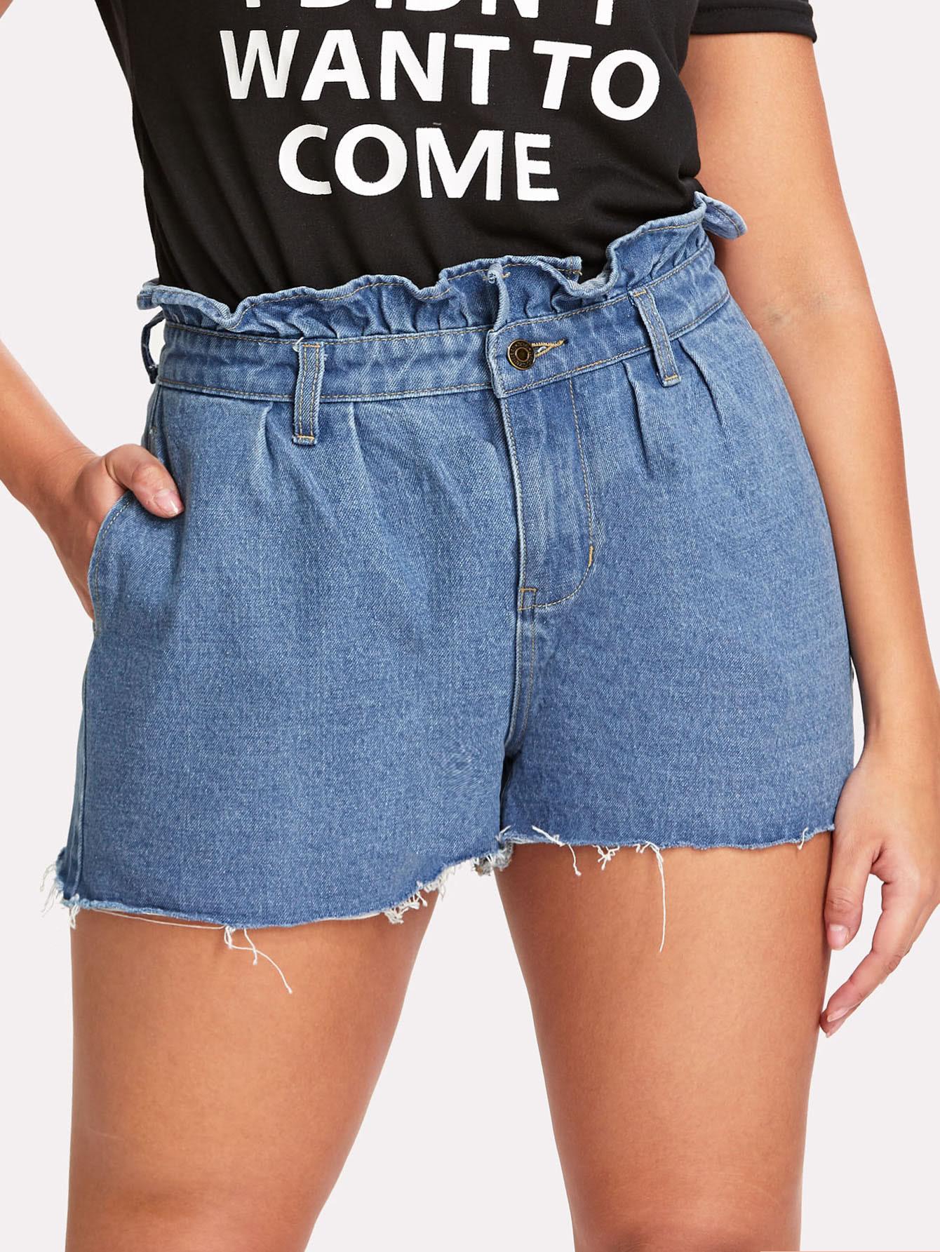 Frilled Waist Raw Hem Shorts