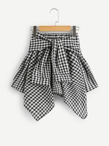 Knot Front Asymmetrical Hem Checked Skirt