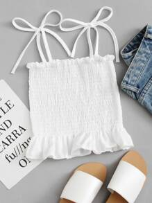 Ruffle Hem Pleated Cami Top