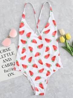 Crisscross Open Back Watermelon Print Swimsuit